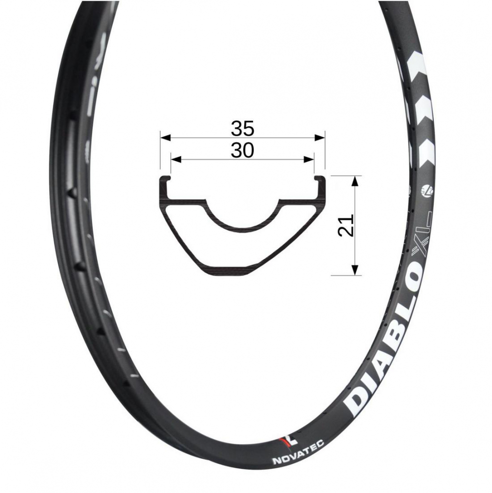 "Rim MTB DIABLO XL, U2.1 27.5"" Tubeless Ready Rear 32 holes"